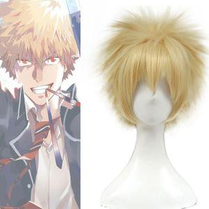 My Hero Academia Bakugo Katsuki Men Gold Blonde Short Spiky Hair Cosplay Wigs