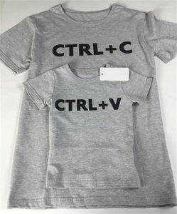 Erkek tişörtleri Baba Ç Boyun Gri Kısa Kollu Aile Çocuk Giyim Yaz Ctrl C Ve V Print Tops