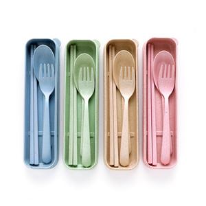 Портативные соломы пшеницы Посуда Ложка Вилка палочек Установить Столовые 4 цвета многоразового Путешествие Отдых Cutlery Set
