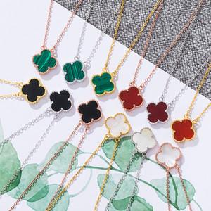 S925 Sterling Silver Four Leaf Clover Ожерелье Подвески розовое золото цепи Чокеры Черный Зеленый Красный Белый Gemstone ювелирные изделия аксессуары