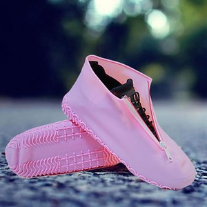 1 Pair Protective Elastic Outdoor Reusable Travel Non Slip Rain Boots Waterproof Silicone Accessories Shoe Cover Portable Zipper