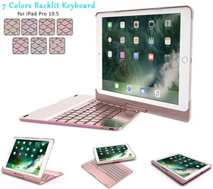 Backlit Wireless Bluetooth Keyboard with 360 Rotation Slim Smart Hard Shell Aluminum Alloy Folio Protective Cover for Apple iPad Pro 10.5