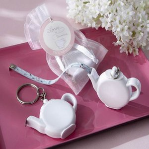 Teapot Tape Measure Keychain Wedding Favors Gift Love is Brewing Teapot Measuring Tape Key Chain Birthday Party Gift 24pcs LOT wholesale