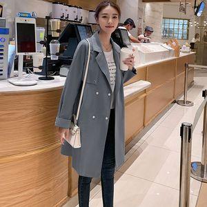 Großhandels-Windjacke Weiblicher mittlerer und langer Frühling beiläufiges Knie Langarm-beiläufigen Frauen-Manteau Printemps Trend Mantel-Frau Grün HH50FY