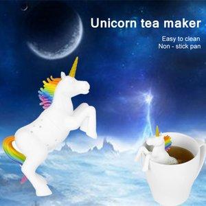 Silicone creativo filtro unicorno tè tisana tisana tisana filtro sacchetto di cibo grado shaleaf allentato infusore infusore diffuso eluuw