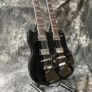 Yeni standart Özel çift boyunları elektrik gitar siyah renk 06/12 dizeleri guitarra.Custom gitaar