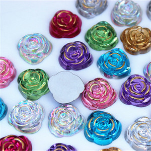 100pcs 15mm Rose Flowers Flatbacks Resin Flower Flatback Cabochon Button Wedding Diy Design Button Craft ZZ110
