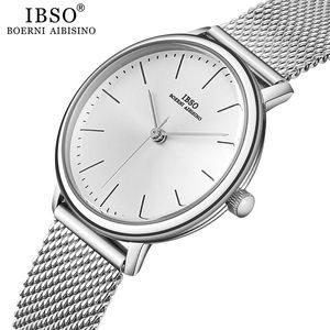 de IBSO Mulheres Quartz Relógios finos de aço inoxidável malha Strap Quartz Relógio Horas senhoras Ultra Simples Relogio Masculino
