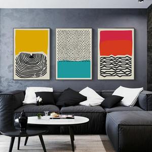 Resimli Posterler ve Baskılar Galeri Çocuk Mutfak Ev Dekorasyonu Boyama Modern Renkli Soyut Geometrik Wall Art Kanvas