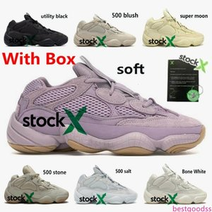 2020 Kanye 500 soft vision Men Women Running Shoes bone white stone Designer Sneakers blush salt DESERT RAT super moon yellow utility black