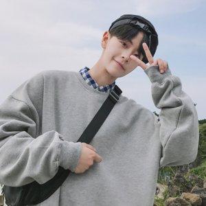 sciolto strato sottile colletto tondo moda Abbigliamento Hoodies Felpa manica lunga da uomo senza il cappello di 2019 maglione bianco