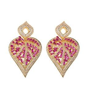 European and American fashion highend goldplated personalized water drop irregular geometric Earrings trapezoid zircon lady luxury Earrings