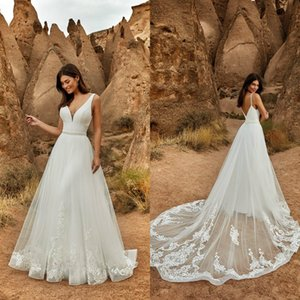 Eddy K 2021 Wedding Dresses Sexy V-Neck Open Back A-Line Bridal Gowns Custom Made Lace Appliques Detachable Train Wedding Dress