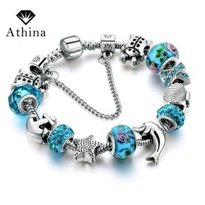 Fashion Jewelry Anchor Star Bracelets With Blue Charms Women DIY Silver Beads Bracelets & Bangles Pulseras Mujer SBR160146