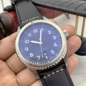 Rotating Dial Bisel Limpar Árabe Número Marcadores Mens relógios automáticos luminoso azul 46MM Caso Auto Data de relógio de couro banda pulso