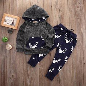 Uzun Kollu Bebek Bebek Boys Giyim Karikatür Geyik Noel Hoodie Pamuk Pantolon 2pcs Giyim Bebek Boys Kıyafetler Suit Tops ayarlar