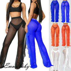 US Sexy Women Fishnet Beachwear Pants Mesh Sheer Ruffle Trousers Bikini Cover Up