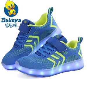 Babaya Niños Usb Charge Colorido Led Luz de Fondo Zapatos Malla Chicas Flash Zapatillas de deporte Luminosas Niños Zapatillas Brillantes Niños Zapatos Y190525