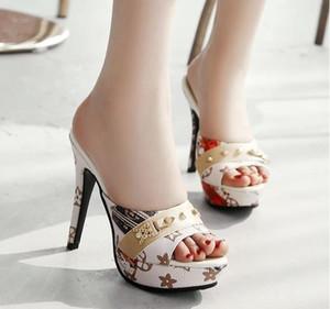 Новая мода женщины Платформа Мулы Насосы Экстремальный Высокие каблуки партии Сексуальная обувь Peep Toe дам Обувь большого размера 33-43