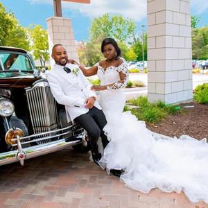 2.020 Tamaño atractivo de la sirena de boda Plus Vestidos de novia artificial Vestidos de manga larga de encaje con cuentas de cristal de organza de novia Vestidos Vestidos de boda