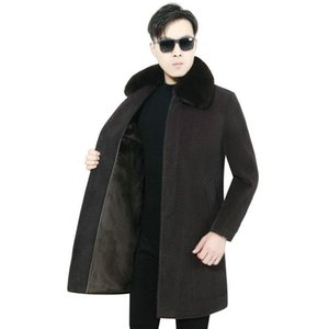 Men Winter Lmitated Mink Wool Coats Elegant Business Casual Black Camel single-breasted Thick Warm Fake fur Overcoat Man Outer