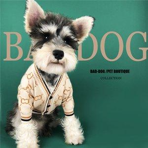 Kaki Pet Cardigan Et Automne Hiver Vêtements Pull pour chien petit chien Tide Toutous Mode Chiens Chat Fastener Tricots