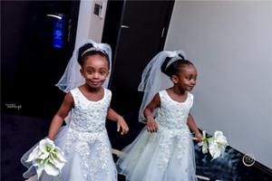 2019 Pizzo Appliqued Scopp Collo Flower Girl Dress Piccola ragazza nera compleanno principessa partito Gown ragazza lunga abiti da sposa formale