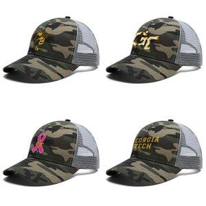Unisex GA Tech Yellow Jackets football logo Adjustable Trucker Cap Cricket Designer Classic Vintage Baseball Hat sunflower pink breast