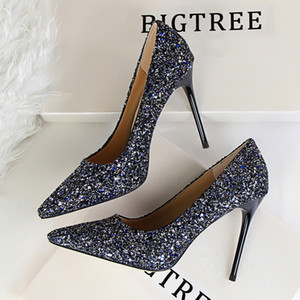 2020 fashion stiletto luxury style women's shoes banquet shallow mouth pointed sequins sexy business dress size 34-43