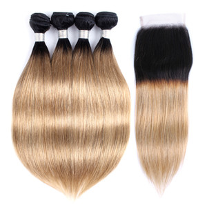Ombre Straight Hair Bundles With Closure 1B 27 Honey Blonde Brazilian Virgin Hair 4 Bundles With 4x4 Lace Closure Remy Human Hair Extensions