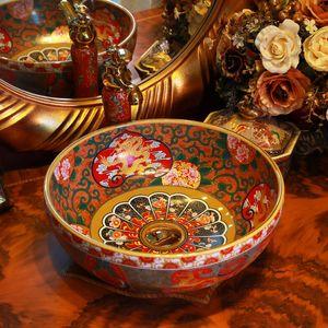 Dragon China Artistic Handmade Ceramic wash basin Lavobo Round Counter top modern bathroom vanity