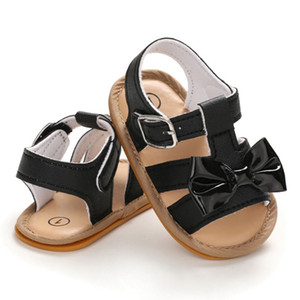 WEIXINBUY Baby Girls Bow Summer PU Leather Breathable Soft Bottom Shoes Girls Baby Toddler Sandals Beach Shoes 0-18 M 3
