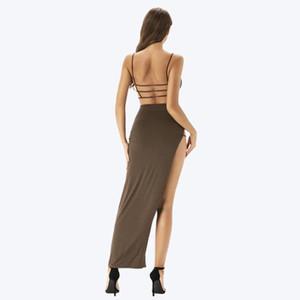 Модные женские дизайнерские платья из двух частей 2020 новый сплошной цвет женские платья сексуальный Сплит платье без рукавов размер XS-XL PH-YF20424