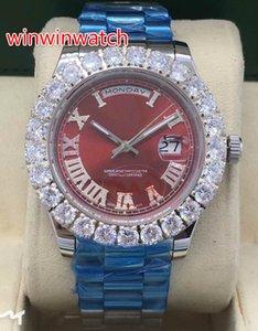 43MM 프롱 세트 다이아몬드 손목 시계 실버 케이스 스테인레스 스틸 자동 기계 작업 부드러운 스위핑 손 Mens diamond Watches