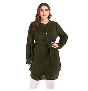 Vestidos de tamaño con fajas 5XL cordones sueltos mujeres vestidos moda cuello redondo manga larga asimétrica Plus
