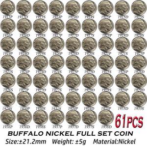 61 pz USA Buffalo Nickel Coins 1913-1938 Copia Nichel Set completo di arte Collectibles