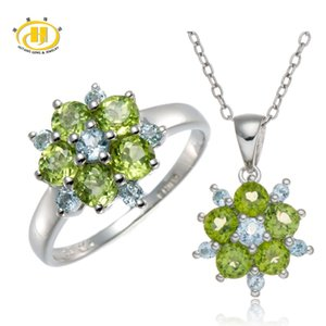 Hutang Stone Jewelry Sets Natural Peridot and Sky Blue Topaz Gemstone 925 Sterling Silver Ring and Pendant Fine Fashion Jewelry