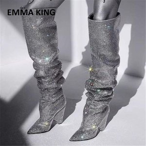 Muhteşem Kadınlar Yapay elmas Sivri Burun Diz Yüksek Boots Chic Bling Bling Kristal Chunky Topuk Uzun Çizme Kadın Elbise Ayakkabı