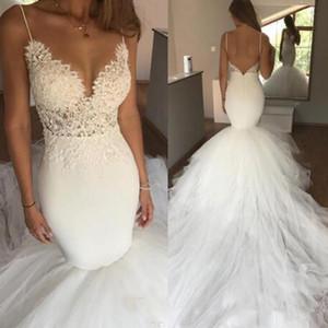 Moderne Brautkleider 2020 mit Spaghetti-Trägern tiefen V-Ausschnitt Open Back Lace Tüll Kapelle Zug Mermaid Brautkleid Brautkleider