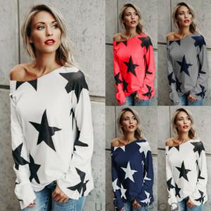 Женская Мода Новый С Плеча Звезды Печатных С Длинным Рукавом Косой Шеи Футболка Дамы Повседневные Топы