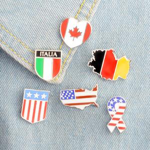 Bandiere nazionali Smalto Spilla Canadese Americano Tedesco Italiano Bandiera Spilla Pin Button Hat Bag Vestiti Collare Pin Badge Regalo in metallo