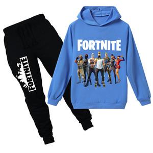 Teenmiro Fortnite crianças roupas definido para Meninos Meninas Primavera Crianças Suit Sport adolescentes moletom com capuz Calças Battle Royale Criança Treino
