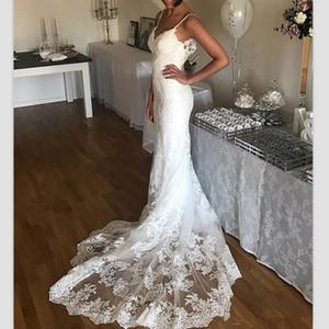 Vestidos de boda de la vendimia del cordón del verano de la playa completa espaguetis correas vestidos de novia formal barrido Boho recepción de tren Dubai boda africana
