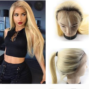 Brazilian Ombre Blonde Glueless Full Lace Human Hair Wigs Pre Plucked Straight 1B 613# Honey Blonde Lace Front Wigs With Baby Hair Around