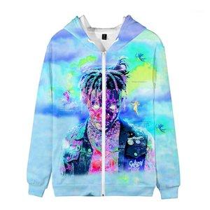 Mens Zipper Hoodies Designer Hiphop 3D Printed Sweatshirts Fashion Plus Size Male Coat Rapper Juice Wrld