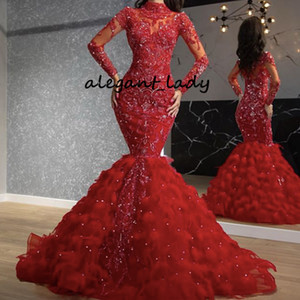 Red high neck Prom Dresses 2020 Long Sleeve Beading Sequins Pearls Feather Lace applique Floor length Long Mermaid Evening Pageant Gowns