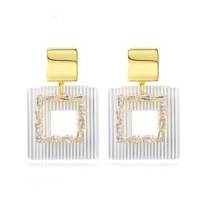 Korean große quadratische Tropfen-Ohrringe für Frauen Hochzeit Verlobung Mode Schmuck Partei Pendientes Bijoux Christmaas Geschenke