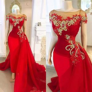 Sexy Red Vestidos Wear Lace apliques de ouro cristal frisado mangas Organza Mermaid Andar de comprimento Plus Size formal do partido Prom Vestidos