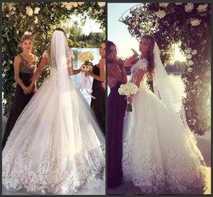 2020 nouvelle princesse dentelle blanche robe de bal robes de mariée Sheer Neck Beach Tulle Robes de mariée bling balayage train robe de mariée