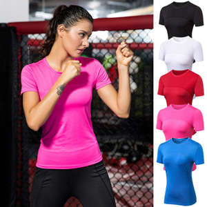 Women's Short Sleeve T-shirts Performance Yoga T Shirt Sport Blouses Quick Dry Moisture Wicking Training & Gym Athletic Crew Neck Tops